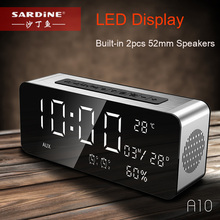 Sardine A10 Wireless Bluetooth Speaker Alarm Clock 12W Portable Stereo Subwoofer HiFi Speaker Built-in 2pcs 52mm Big Speakers(China)