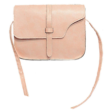 Women Girl Shoulder Bag Briefcase Faux Leather Crossbody Tote Bag pink(China)