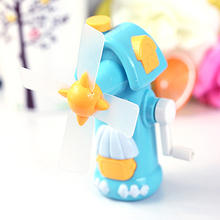 1Pc New Arrival Colorful Plastic Creative Windmill Shaped Mini Hand-operated Fan Kids Summer Cooling Educational Toys Gifts(China)