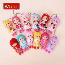 8cm Mini Soft Interactive Dolls Baby Toys Dolls For Girls Cute Keychain Doll Scarf Girl Toy For Girl 1pcs
