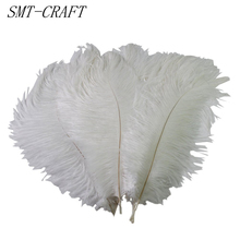Wholesale Hard rod 10 Pcs/Lot natural White Ostrich Feathers 15-75CM Christmas Party Wedding Decorations Jewelry Feather(China)