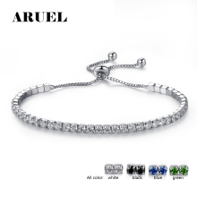 ARUEL Fashion Silver color Chain Link Bracelets & Bangles For Women AAA Cubic Zirconia Crystal adjustable Jewelry Birthday Gifts(China)