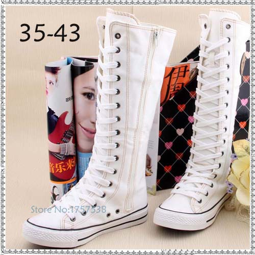 womens new fashion knee high flat heel canvas boots lace up zipper woman shoes female casual long breathable boots dance shoes<br>