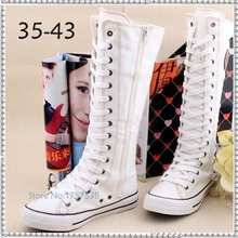 women's new fashion knee high flat heel canvas boots lace zipper woman shoes female casual long breathable boots dance shoes