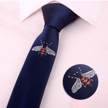 5cm Fashion mens classical cartoon animal Bee butterfly Beard Broom skinny polyester neck ties Embroidery black casual Tie(China)