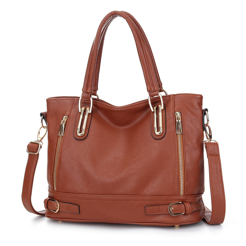 Wholesale Cheap Western Style Metal Decoration High Capacity Brown Women Lady Handbag Shoulder Messenger Bags Totes Crossbody<br>