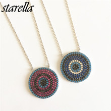 Starella Fashion 925 Silver Micro Pave CZ Nano Turquesa Classical Turkey Evil Eye Pendant Necklace Collar Moda Joyeria(China)