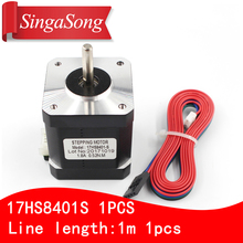 Free shipping 1PCS 4-lead Nema17 Stepper Motor 42 motor 17HS8401S 1.8A CE ROSH ISO CNC Laser and 3D printer with DuPont line(China)