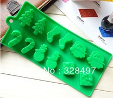 Freeshipping Silicone cake mold chocolate molds Christmas tree wand sock snowman DIY baking mould Bing Gemo L052(China)