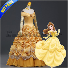 Princess Belle adults cosplay Belle costume yellow dress Movie Beauty and the Beast cosplay Custom made