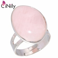 CiNily Pink Stone Moonstone Silver Plated Wholesale Hot Sell Fashion Jewelry for Women Wedding Party Adjustable Ring NJ10864-65(China)