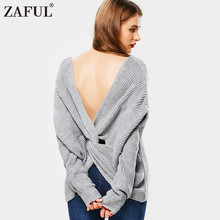ZAFUL Spring Autumn Warm Women Sweater Solid 7 Color Twist Back V-Neck Pullovers Jumpers Long Sleeve Knitted Sweaters pull femme(China)
