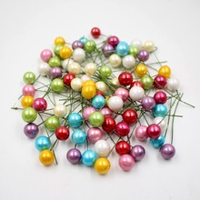 40pcs/lot mini plastic Artificial flower pearl stamens small berries cherry pearlescent wedding DIY gift boxes decorated wreaths(China)