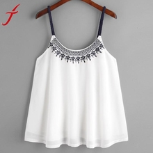 Summer girl Women Tank Tops Flower Embroidered Chiffon blended t-shirts Strappy Cami Top Casual Sleeveless women crop tops(China)
