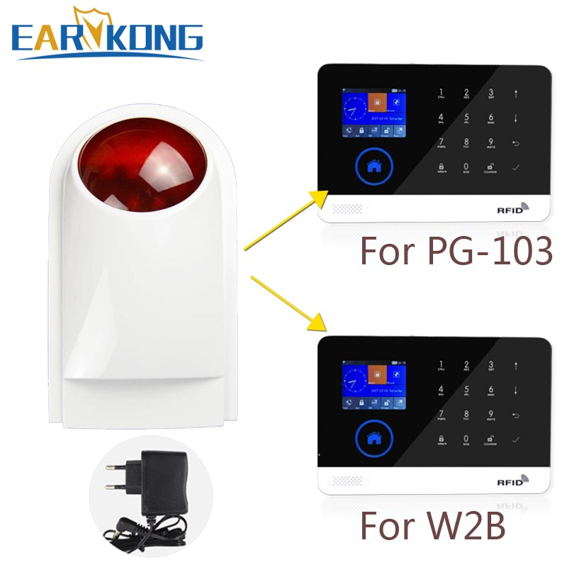 433MHz Wireless Strobe Siren Light Alarm Outdoor Waterproof Only For PG-103 / W2B Wifi GSM Alarm System (China)