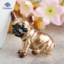 Celadon Cute Pug Dog Brooches Green Eyes Animal Corsage Pins Kids Girls Shirt Coat Clips Brooches Clothes Accessories Jewelry(China)