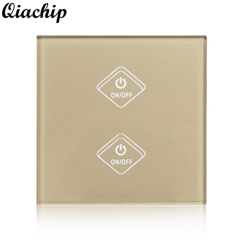 QIACHIP AC 220V UK Plug Wifi Touch Switch Remote Control Work With Amazon Alexa For Smart Home Light LED Lamps Timing Control<br>