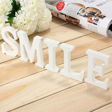 Home Decor Decoration thick Wood Wooden White Letters Alphabet Wedding Birthday 8cmX1.2cm Drop Shipping