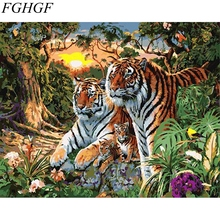 FGHGF Tigers Frameless Picture Painting By Numbers DIY Coloring By Numbers On Canvas Fashion Tigers Home Decor(China)