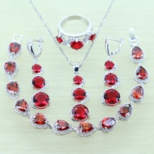 Reginababy Women Red Created Garnet Jewelry Sets Silver Color Bracelets Drop Earrings Ring Necklace Pendant Jewelry Box