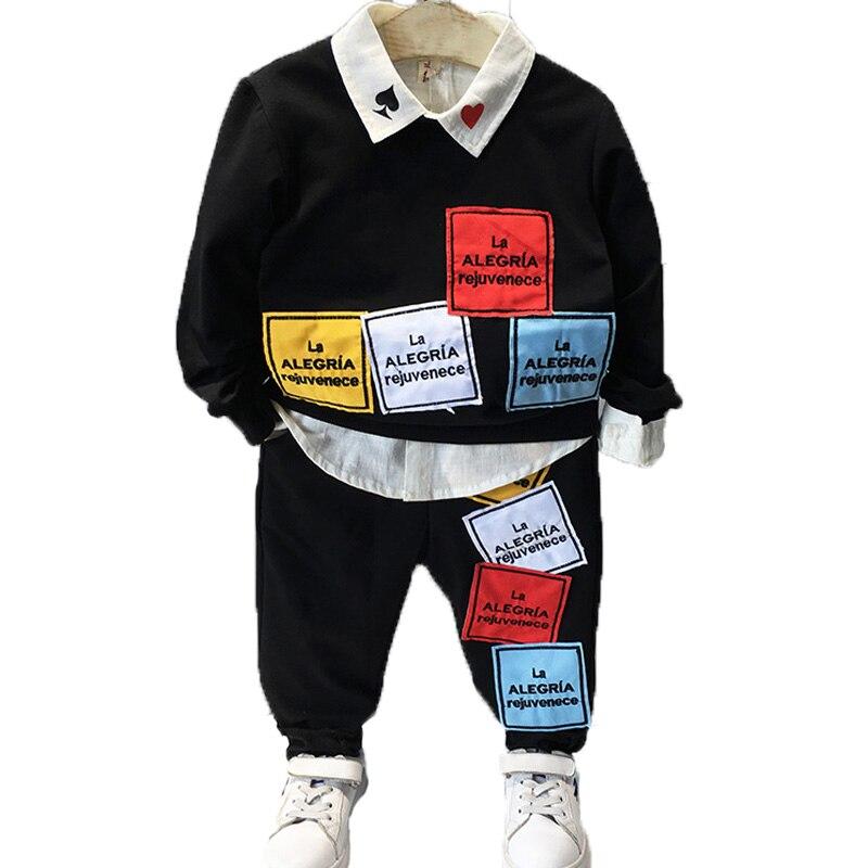 Boys Clothing Sets 2017 Autumn Long Sleeves Letter Patch Geometry Fashion Lapel T-shirt+coat+pants Kids Suit Children Clothing<br>
