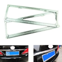 2016 NEW  arrival Car Stick drill shine Crystal Rhinestone Steel License Plate Frame SD-2602 free  shipping 68