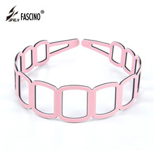 2016 New Fashion Women Girls All-Match Charm Style PVC Hollow Hair Hoop Geometric Match Popular Hair Accessories Tiara DG840172