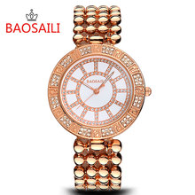 BSL968 BAOSAILI Brand Silver Beads Bracelet Watch Women High Quality Alloy Band Relojes Mujer New Lady Dress Watch(China)