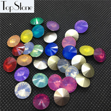 100pcs 8mm,10mm,12mm,14mm,16mm Resin More Opal Colors Rivoli Fancy Stone Pointed Back Round Opals Jewelry Accessories Making