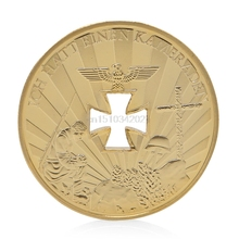 Collectible Coin 1914-1945 Cross World War 1 2 Gold Plated Commemorative Challenge Coin Souvenir(China)