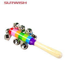 Surwish 1 pcs Wooden Stick 10 Jingle Bells Rainbow Hand Shake Bell Rattles Baby Kids Children Educational Toy - Random Delivery(China)