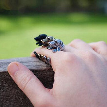 Cute Handmade Pug Dog Rings for Women Summer Jewelry Anillos Mujer Antique Brzone/Silver Plated Black 3colors for choose(China)
