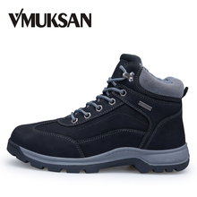 VMUKSAN Brand New Winter Boots Men 큰 Size 40-46 Warm 모피 Men Boots 2019 Fashion Lace Up Working 발목 망 겨울 Shoes(China)