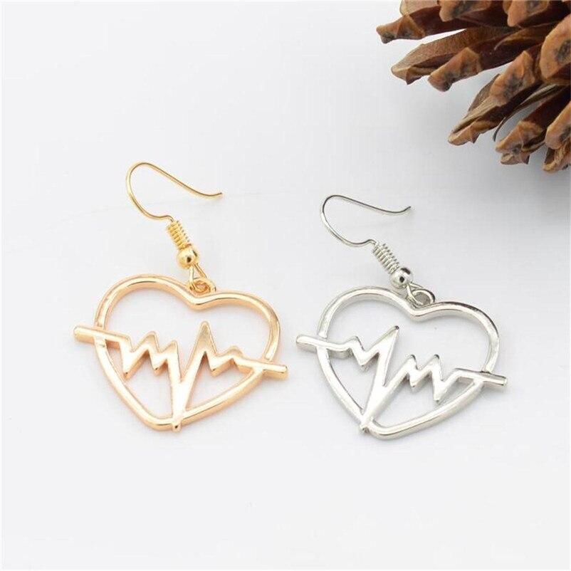 2018 Trendry Earrings for Women 's Heart shaped electrocardiogram Earrings Ear Studs Jewelry Ornament Jewelry Brincos J05#N (4)
