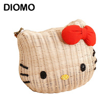 DIOMO Hello kitty women handbags rattan straw girl's beach bag cartoon fabric high quality shoulder bags for girls(China)
