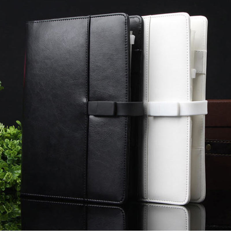 2015 high quality classics black organizer spiral leather notebook with detachable USB flash disk lock<br>
