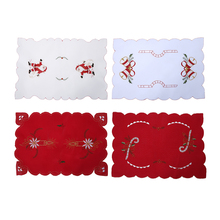 42x29cm Table Mats Christmas Decoration Santa Clause Bell Plate Mat Set Kitchen for Xmas Home Restaurant Dector