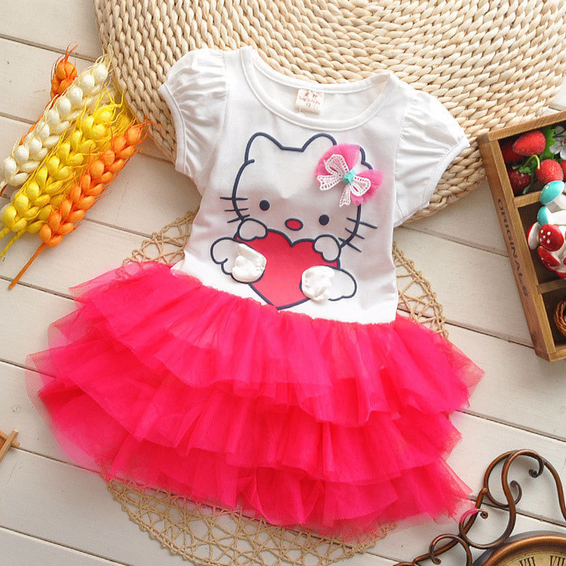 Baby Girls Cartoon Dress Hello Kitty Girls Dresses Kids Princess Clothing Girl Clothes Robe Enfant Cloth Children Party Clothes 5