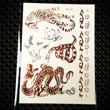 25 Styles Gold Metallic Dragon Wolf Temporary Tattoo Men Women Body Art Waterproof Tiger Snake Tatoos Fake Flash Tattoo Stickers(China)