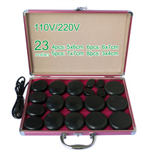 NEW wholesale & retail electrical heating 220V SPA hot energy stone 23pcs/set with heat box (model 4+5+6+8)(China)