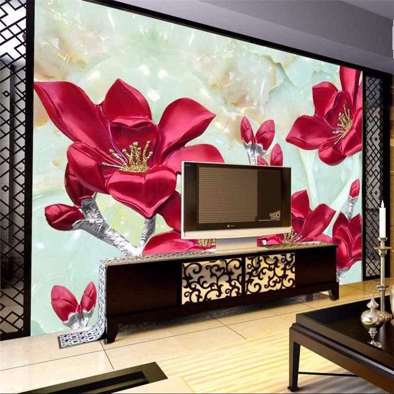 3D Photo Wallpaper Marble Relief Lily Background 3D Living Room Bedroom Large Wall Wallpapers Modern Painting Wallpapers Murals<br><br>Aliexpress