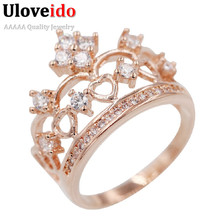 Uloveido Wedding Bijoux Princess Rings For Women CZ Diamond Jewelry Engagement Party Rose Gold Plated Ring Crown 15% off Y128