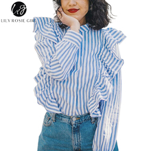 Lily Rosie Girl Blue Striped Casual Women Blouse Shirt Ruffles Long Sleeve Autumn Winter 2017 Cotton Shirts Tops Blusas Chemise