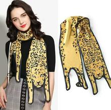 Hot Scarves Three-dimensional Leopard Silk Scarf Double Layer Tiger Cat Dog Parent-child Scarf Unique Design Collocation Bag