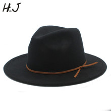 2017 Fashion Women Men Wool Fedora Hat For Gentleman Elegant Lady Floppy Cloche Wide Brim Jazz Church Godfather Sombrero Cap(China)