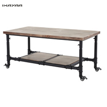 iKayaa Tea Coffee Table with Storage Steel Frame Natural Pinewood Top Cocktail Table Living Room Furniture US UK FR DE Stock
