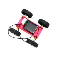 YKS arrival 1pc Self assembly Mini Solar Powered DIY Car Kit Children Educational Toy Gadget Gift 3 colorest New Sale(China)