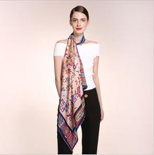 HA759 Women's 100% Mulberry silk pashmina printing scarf  12 momme Silk Satin  90cm*90cm hand screen print made in Hangzhou