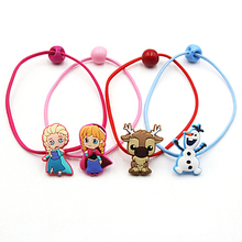 2 PCS Frozen Anna Aisha Princess Children Hair Ropes Kids Headwear Elastic Hair Bands Princess Headdress Girls Hair Accessories