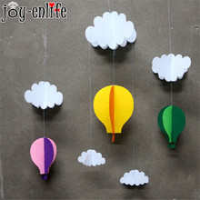 JOY-ENLIFE1Set Clouds hot air balloon stereo DIY Felt ornaments party supplies kid room Decoration Party Garland Christmas decor